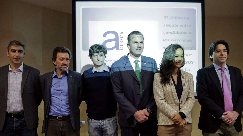 Foto: Imagen de los diferentes participantes en el debate: David Ortega (UPyD), Mauricio Valiente (IU), Miguel Ongil (Podemos), Javier Ortega (Vox), Begoña Villacís (Ciudadanos) y Percival Manglano (PP)