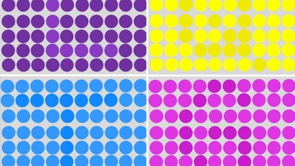 ¿Podrías encontrar las letras ocultas bajo los puntos de colores?