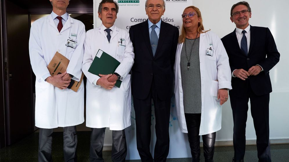 Foto: Isidre Fainé (c), acompañado de Jaume Giro (d). (EFE)