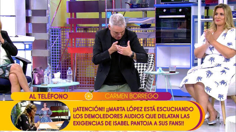 Kiko Hernández llama a Carmen Borrego en directo en 'Sálvame'. (Telecinco)