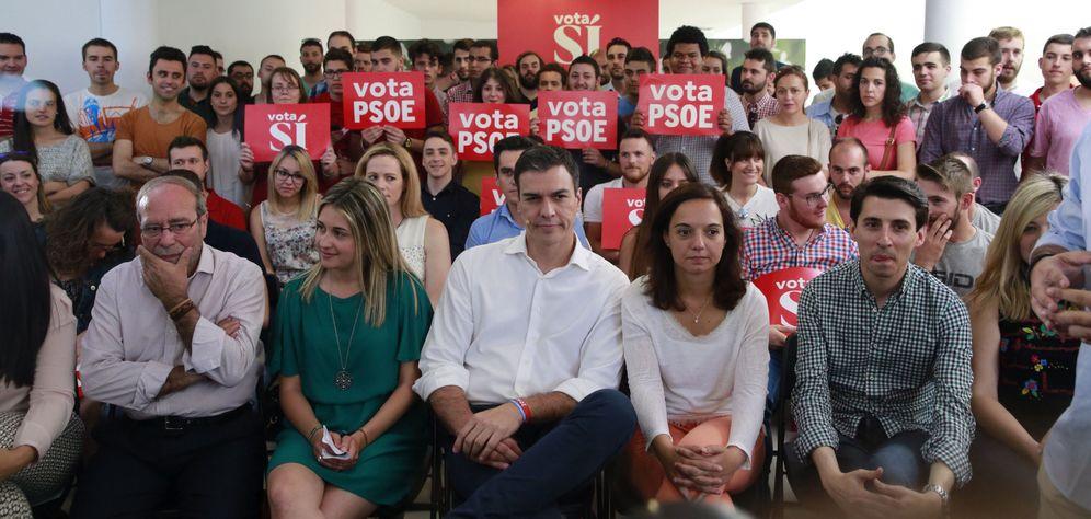 Foto: Pedro Sánchez, este 21 de junio en Fuenlabrada (Madrid), en un acto con jóvenes cargos del partido. (EFE)