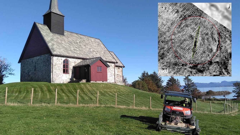 Foto: Detalle de la granja y el barco vikingo encontrado. Foto: NIKU