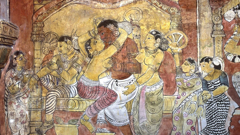 Foto: Mural erótico del siglo XVIII en el palacio de Ramalingavilasam Sethupathi (Tamil Nadu, India). (Dinodia/Corbis)