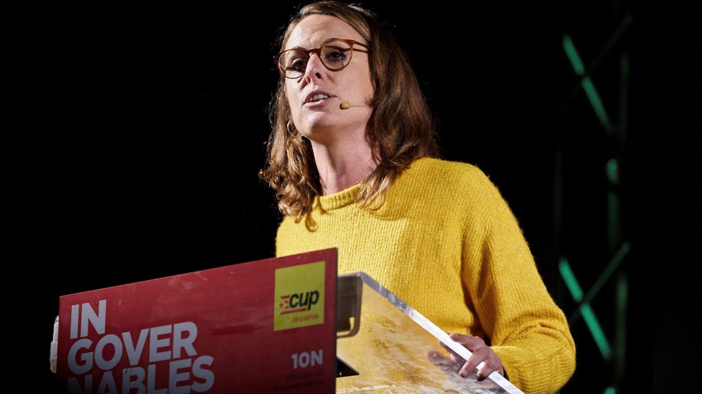 Mireia Vehí, actual diputada de la CUP en el Congreso, durante un acto de campaña. (EFE)