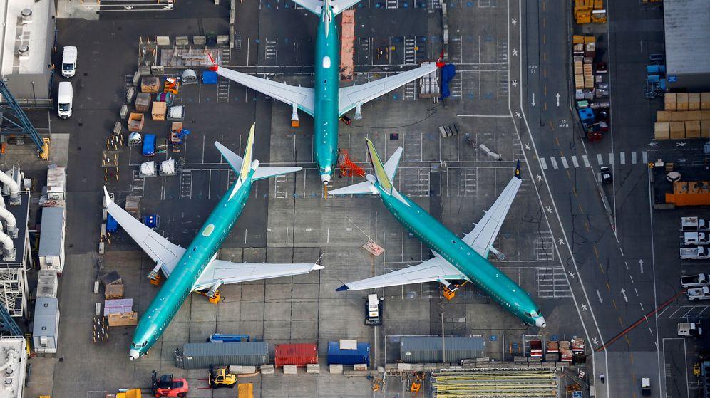 Foto: Varios aviones Boeing 737 MAX en reparación. (Reuters)