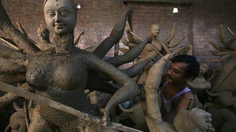 Preparativos para el festival Durga Puja