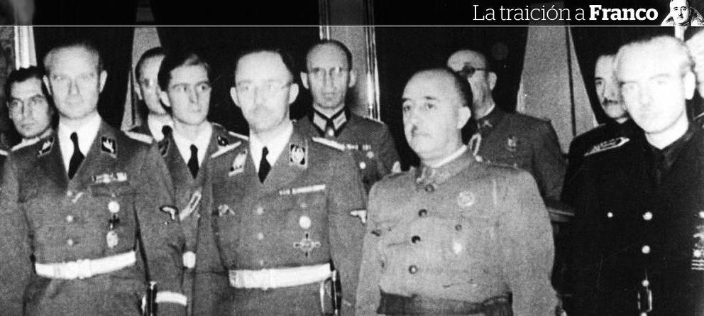 Foto: Franco entre Heinrich Himmler y Ramón Serrano Súñer.