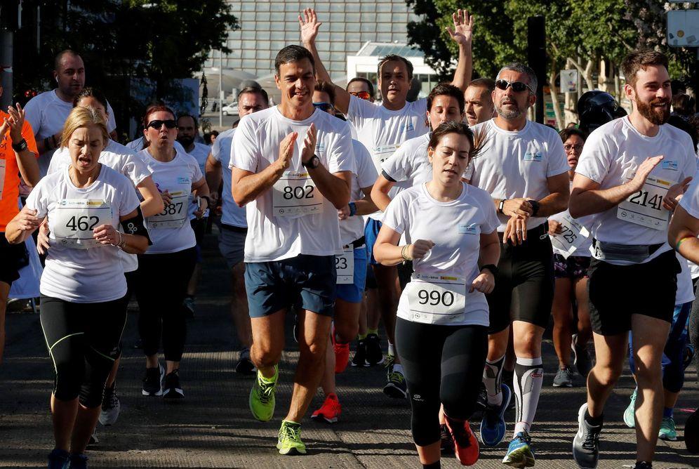 Foto: Pedro Sánchez, durante la carrera contra la violencia de género, este 9 de junio en Madrid. (EFE)