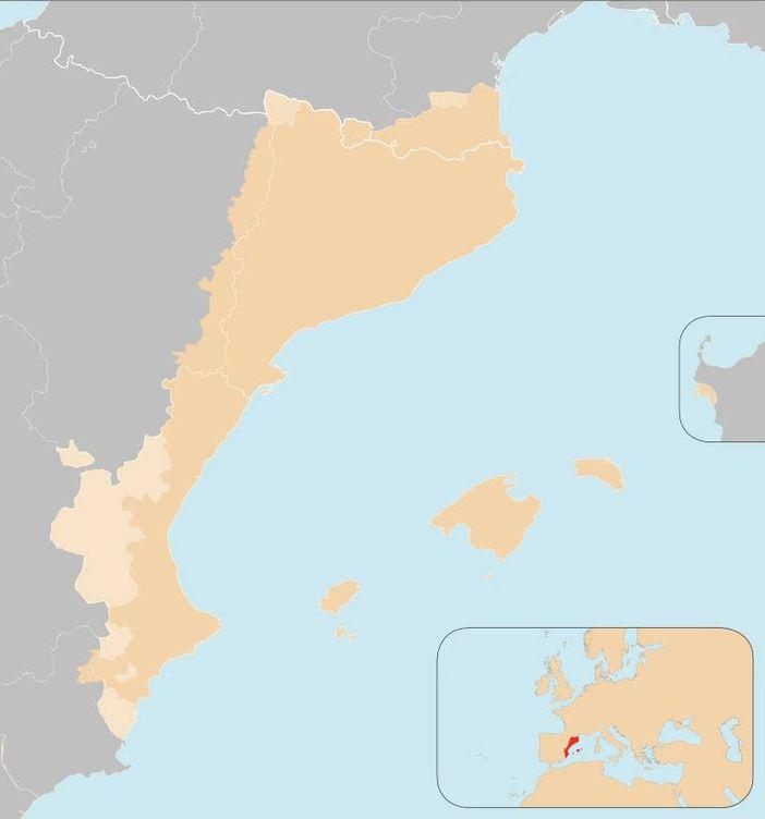 Foto: El territorio que incluiría el término más extensivio de Països Catalans. (Foto: Wikipedia)
