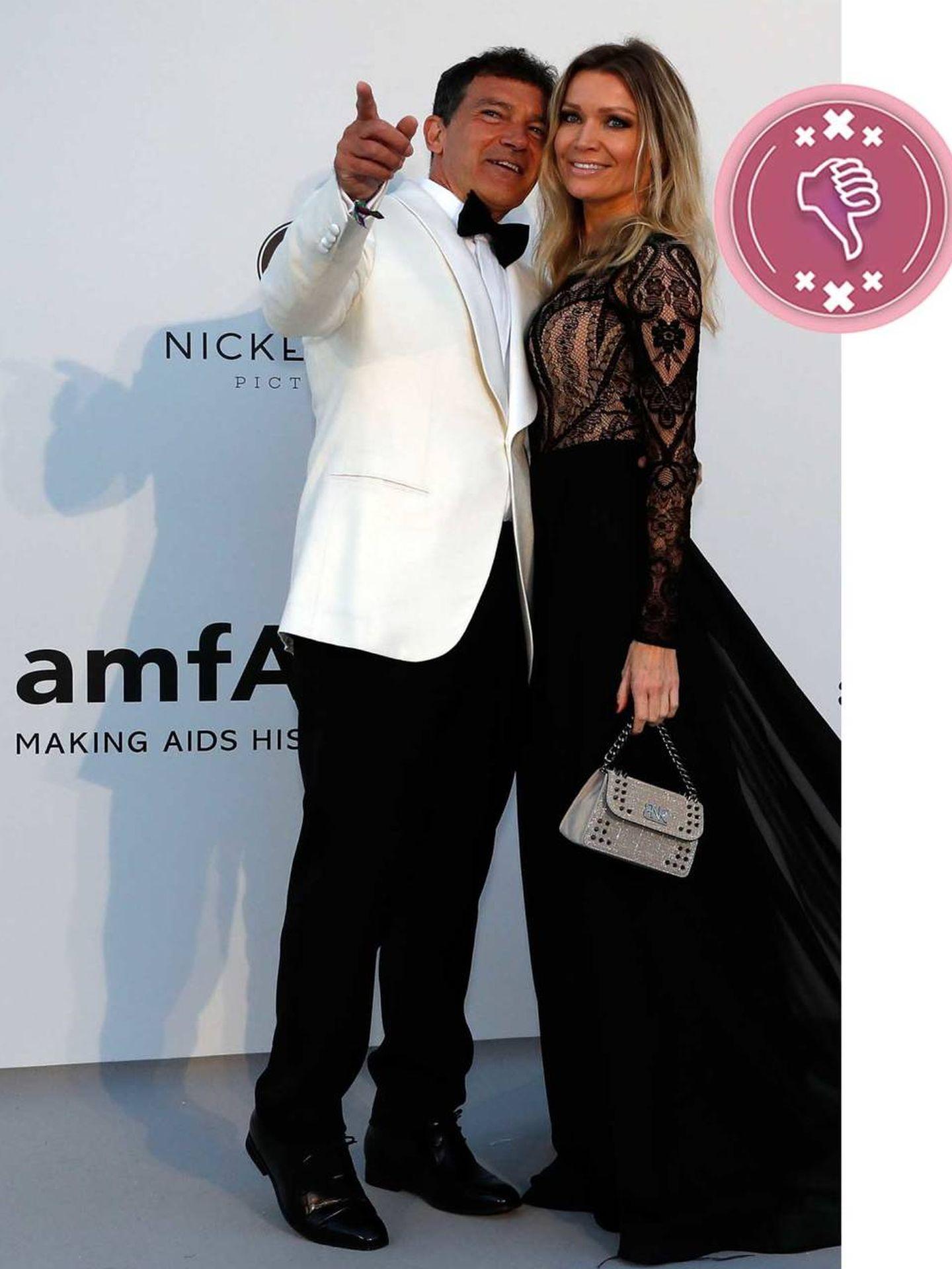 Antonio Banderas y Nicole Kimpel en la gala amfAR. (Reuters)