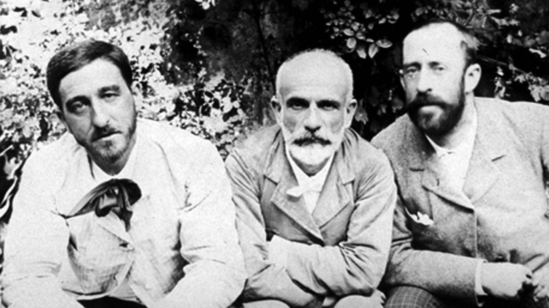 Manuel B. Cossío (i) y Giner de los Ríos (c). (ILE)