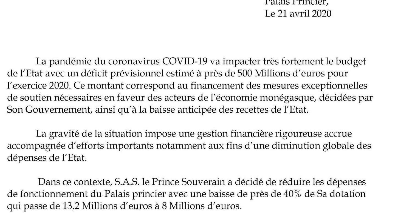 Comunicado emitido por el servicio de prensa del Principado de Mónaco. (Palais Princier)