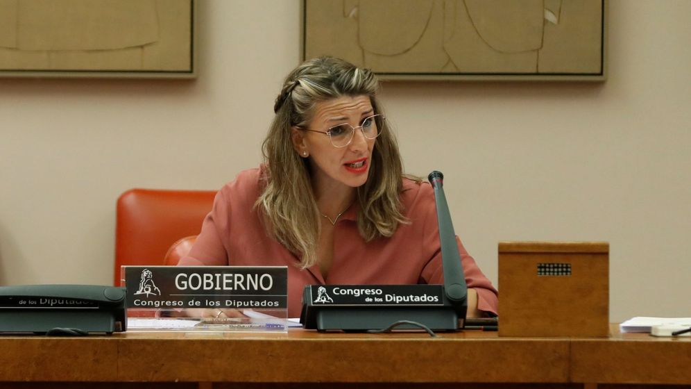 Foto: La ministra de Trabajo, Yolanda Díaz, en una comparecencia en el Congreso. (EFE)