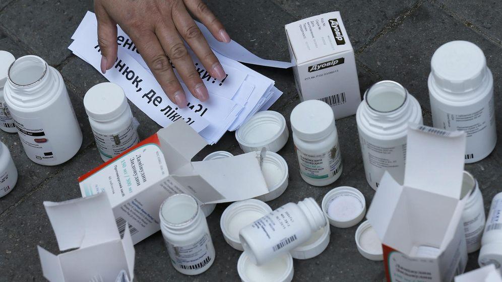Foto: Activistas piden medicamentos para tratar el sida en Ucrania. (EFE)
