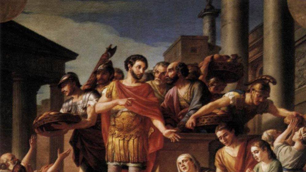 Foto: 'Marco Aurelio distribuyendo pan al pueblo', de Joseph Marie Vien.