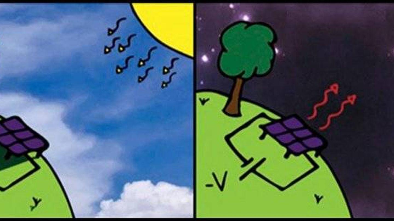 Células termradiativas (derecha) frente a las células solares (izquierda). Foto: Tristan Deppe/Jeremy Munday