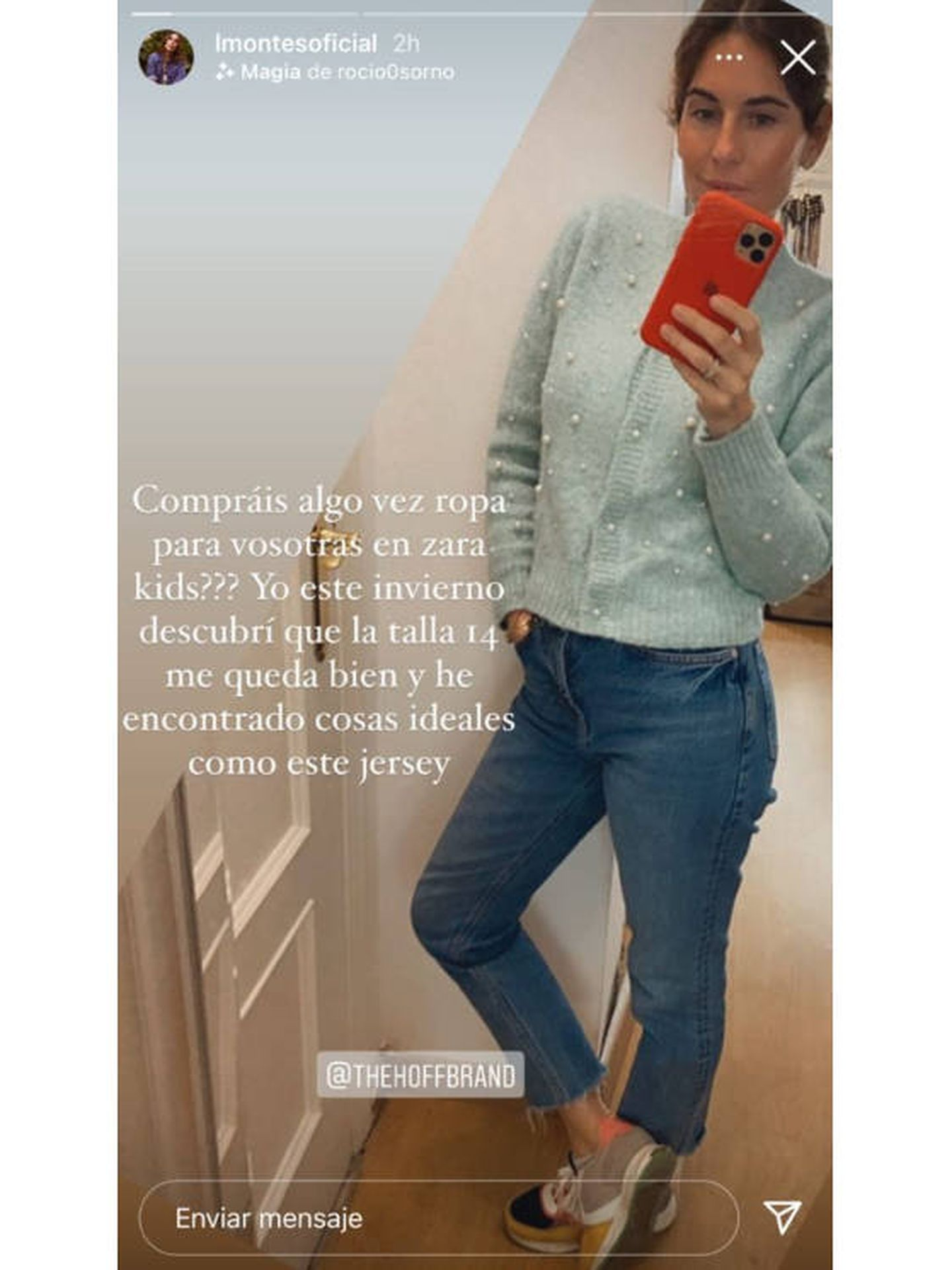 Un storie de Lourdes Montes con la chaqueta de punto de Zara Kids. (Instagram @lmontesoficial)