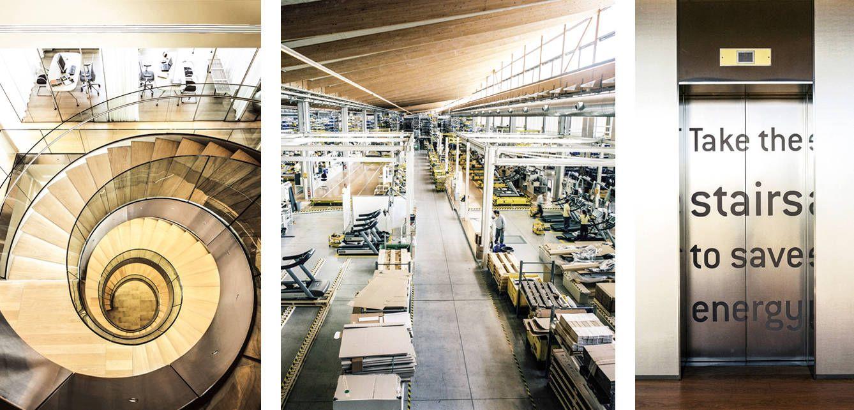 De izquierda a derecha, imagen cenital de la escalera central del edificio de Technogym en Cesena; cadena de producción de la que salen miles de máquinas al año; y la invitación a usar las escaleras en lugar del ascensor.