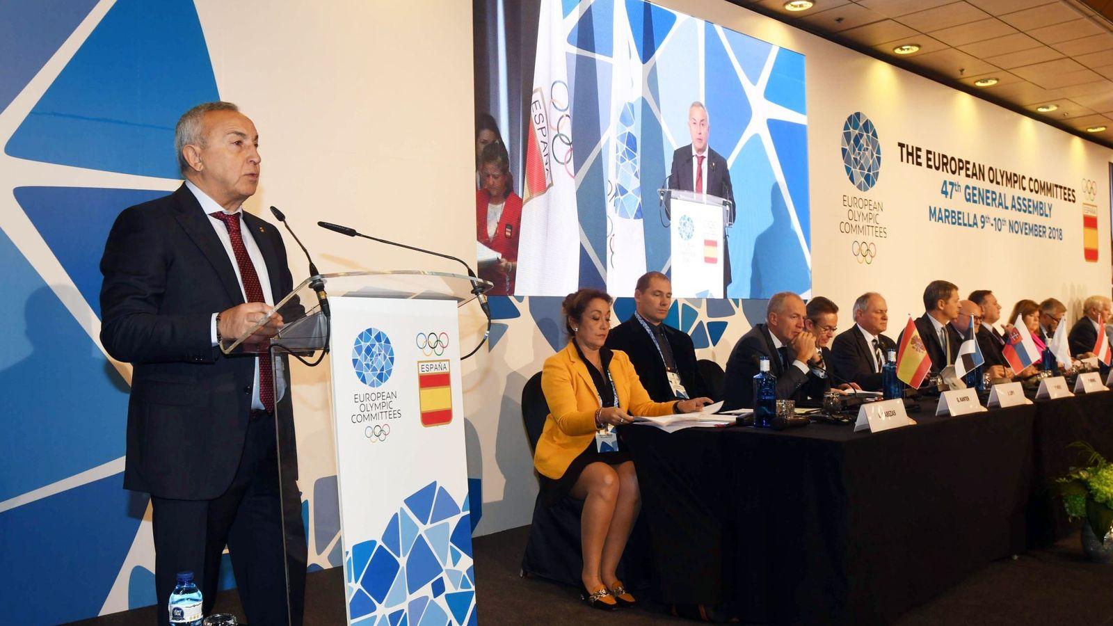 Foto: Alejandro Blanco, en la reunión de Comités Olímpicos Europeos. (EFE)
