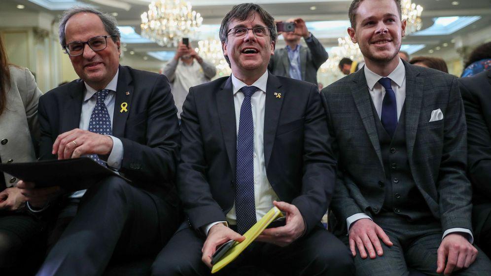 Foto: Conferencia de Puigdemont y Torra, en Bruselas. (EFE)