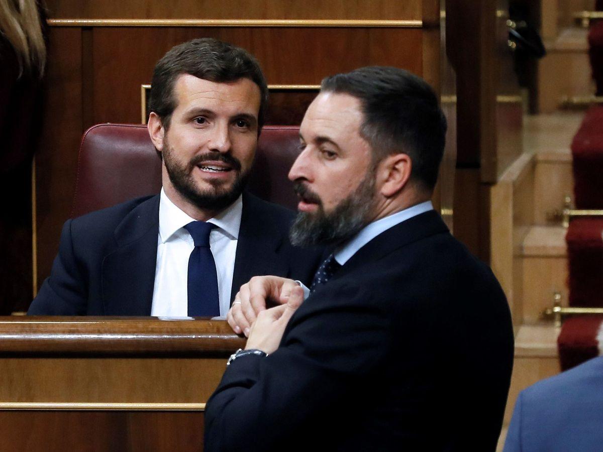 Foto: El presidente del Partido Popular, Pablo Casado, y el líder de Vox, Santiago Abascal. (EFE)