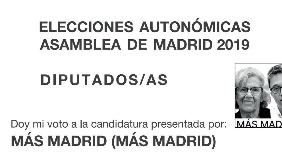 Carmena y Errejón ponen sus rostros en las papeletas en lugar del logo de Más Madrid