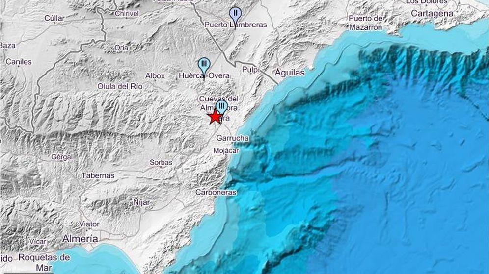 Foto: Mapa con intensidades del terremoto que ha tenido lugar esta mañana en Almería. (IGN)