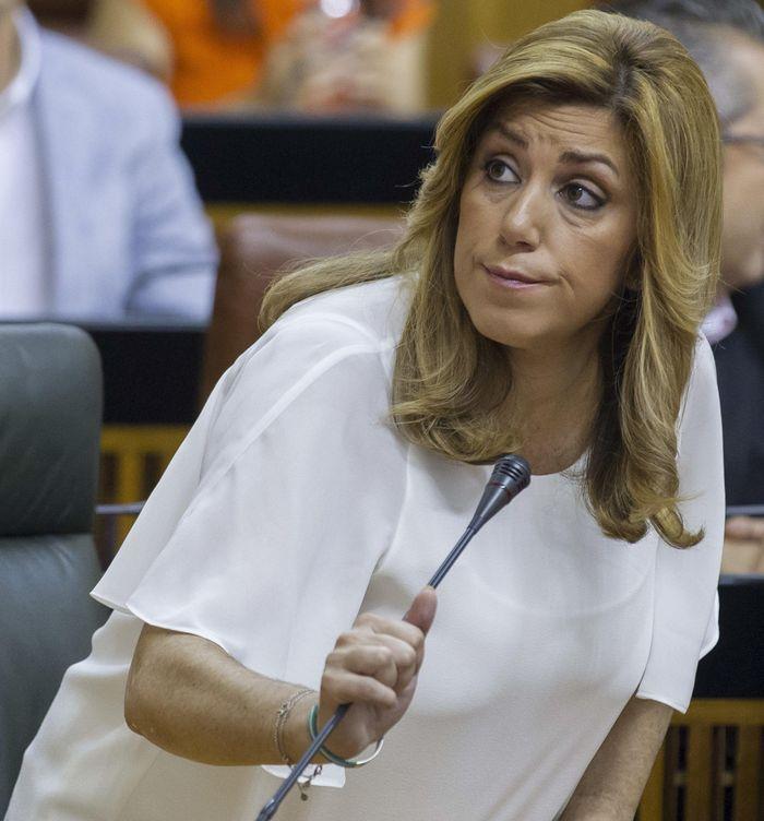 Díaz, en la votación del Parlamento. (Efe)