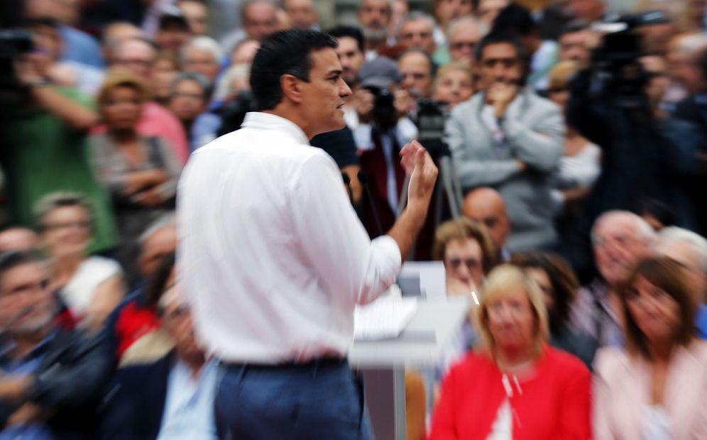 Foto: Pedro Sánchez, durante su mitin en Bilbao con Idoia Mendia, este 22 de septiembre. (EFE)