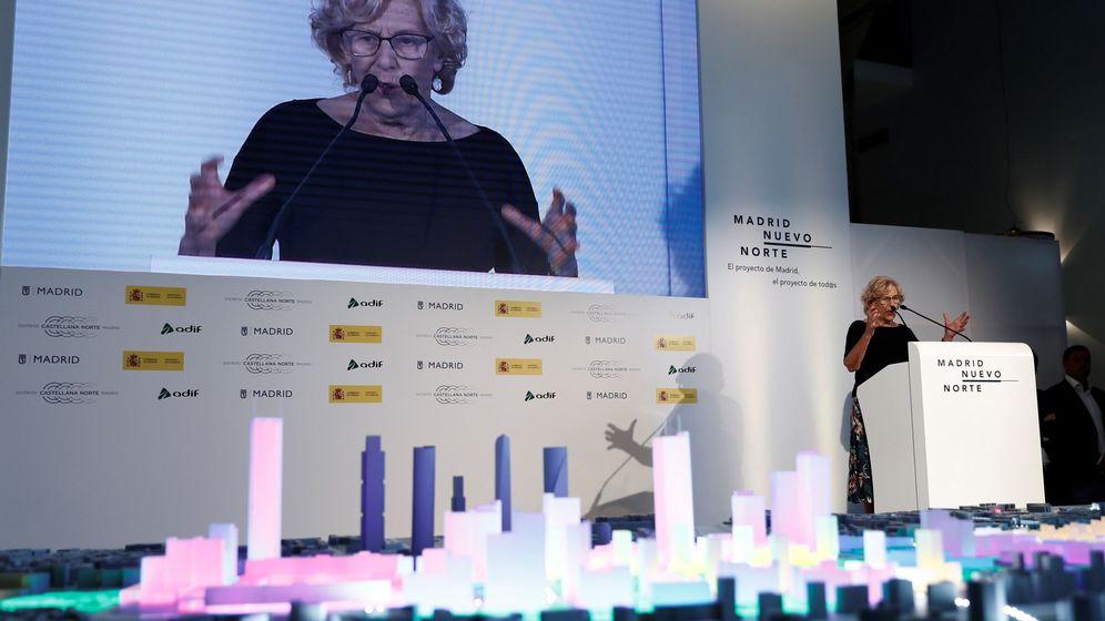 Foto: La exalcaldesa Manuela Carmena, en la presentación de Madrid Nuevo Norte en julio de 2018. (EFE)