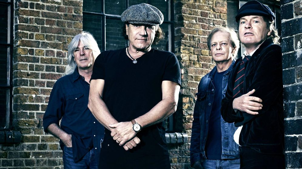 Foto: ACDC actual (i-d): Cliff Williams, Brian Johnson, Stevie Young y Angus Young (falta Chris Slade).