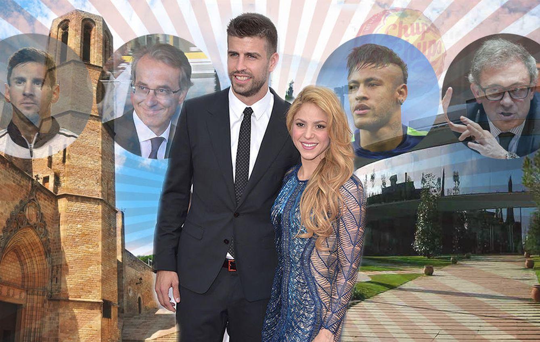 Foto: Shakira y Piqué junto a algunos de sus nuevos vecinos en un fotomontaje (Vanitatis)