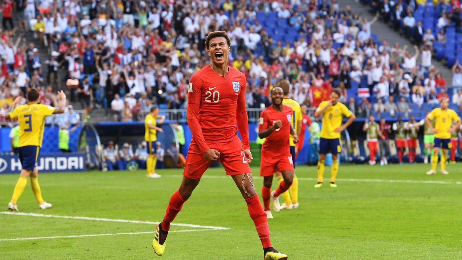Foto: Dele Alli celebra el segundo gol de Inglaterra ante Suecia. (EFE)