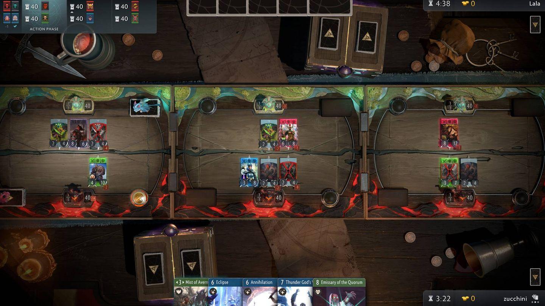 En 'Artifact', imitando a 'Dota 2', hay tres carriles donde se juegan las cartas (Fuente: Artifact)
