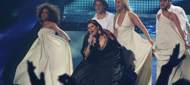 Foto: Vânia Fernandes en Eurovisión 2008 (Daniel Aragay)