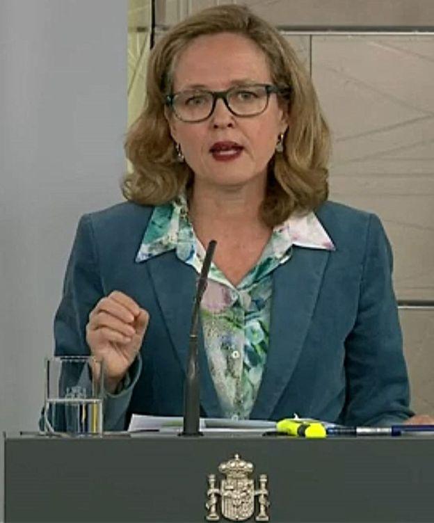 Foto: Nadia Calviño en la rueda de prensa tras consejo de ministros. (EFE)