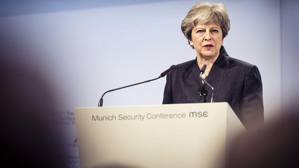 Foto: Theresa May interviene en la Conferencia de Seguridad de Múnich, hoy, 17 de febrero de 2018. (Reuters)