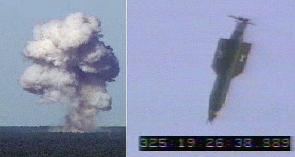 Foto: La GBU-43 B, también conocida como 'la madre de todas las bombas' no nucleares, durante una prueba en la base aérea de Elgin (Florida), en 2003. (Reuters)