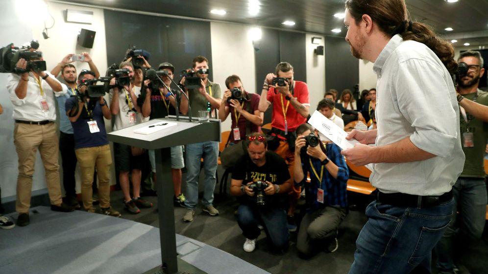 Foto: El secretario general de Podemos, Pablo Iglesias, durante la rueda de prensa en el Palacio de la Moncloa. (EFE)