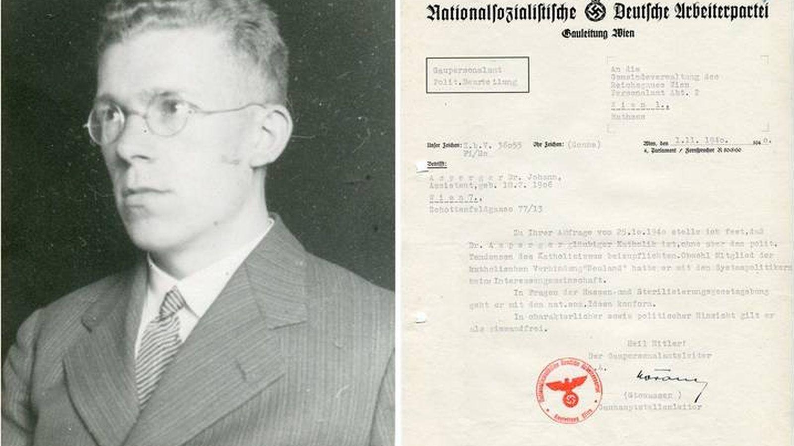 Foto: El doctor Asperger y uno de los documentos que atestiguan su participación (Montaje: G. Cid)