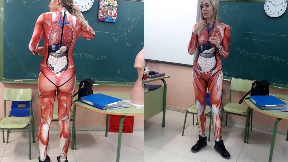 Foto: Verónica Duque sorprendió a sus alumnos con su forma de explicar el cuerpo humano (Foto: Twitter)