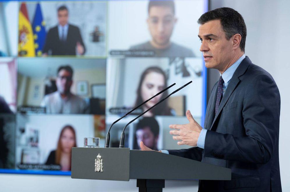 Foto: Pedro Sánchez, durante su comparecencia en la Moncloa de este 9 de mayo. (Borja Puig | Moncloa)
