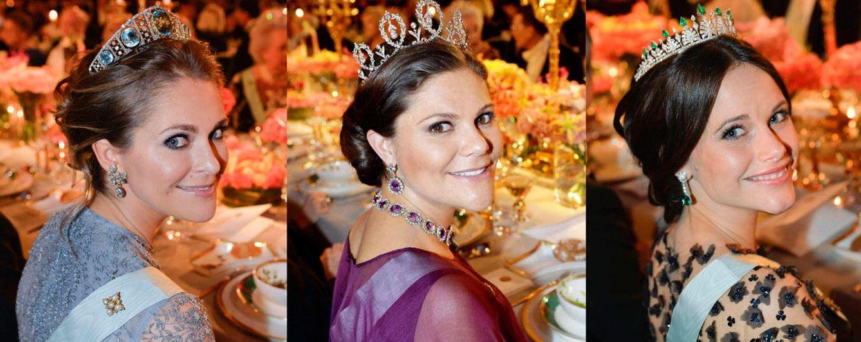 Foto: Las princesas suecas durante el banquete de los Nobel