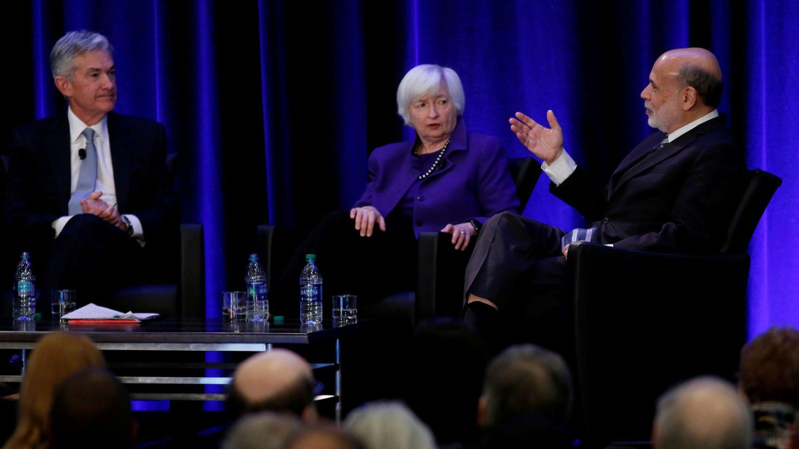 Foto: Jerome Powell, Janet Yellen y Ben Bernanke. (Reuters)