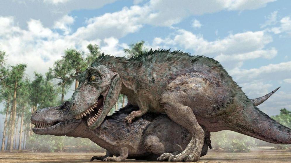 Foto: Dos T. rex en plena cópula (Imagen: José Antonio Peñas)