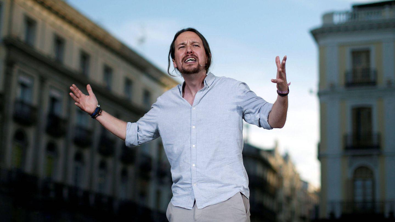 Pablo Iglesias durante un mitín en la Puerta del Sol en 2017. (Reuters)