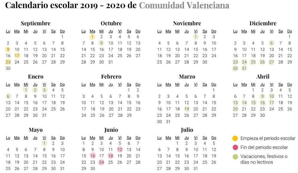 Calendario Escolar 2020 Las Palmas.Calendario Escolar 2019 2020 Para La Comunidad Valenciana