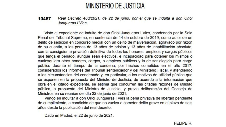 Real Decreto que indulta a Oriol Junqueras (BOE). Clique para ampliar.