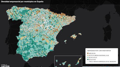 El mapa de la densidad empresarial: ¿Cuántas sociedades hay en tu localidad?