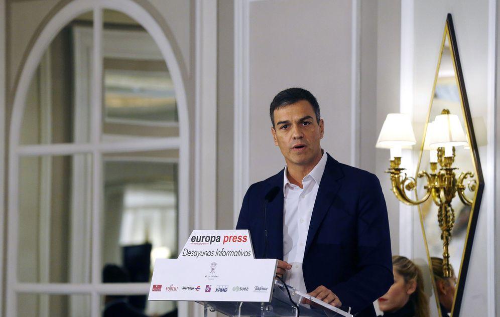 Foto: Pedro Sánchez, durante el desayuno informativo de Europa Press, este 5 de septiembre en el hotel Villa Magna de Madrid. (EFE)
